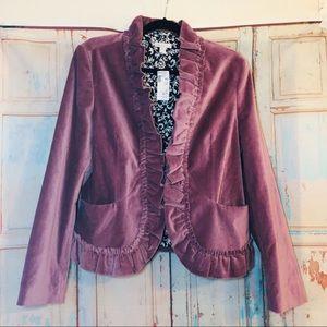 Garnet Hill velvet blazer with ruffle detail